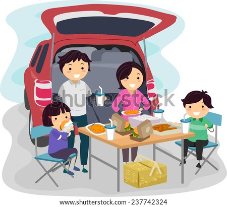 Illustration of a Family Having a Picnic at the Back of Their Car - stock vector