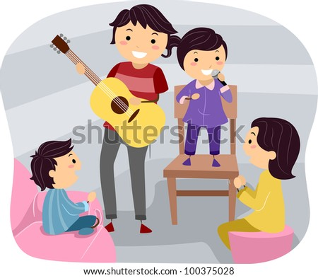 Illustration of a Family Holding a Cultural Night - stock vector