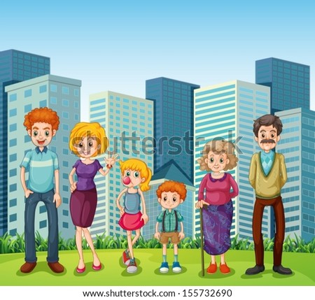 Illustration of a family in front of the tall buildings in the city - stock vector