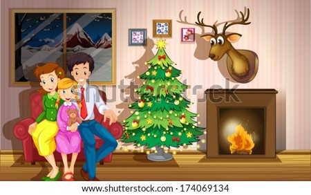 Illustration of a family inside the room with a christmas tree - stock vector