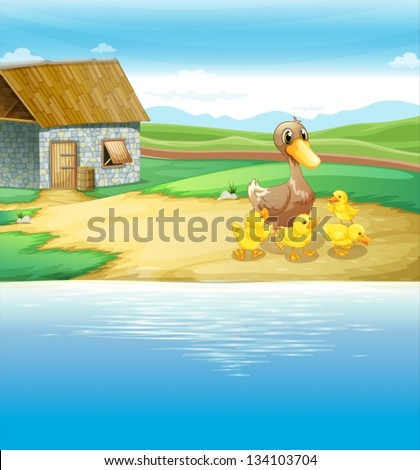 Illustration of a family of duck near the river - stock vector