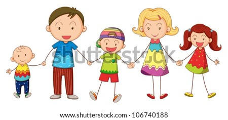 illustration of a family on a white background - stock vector