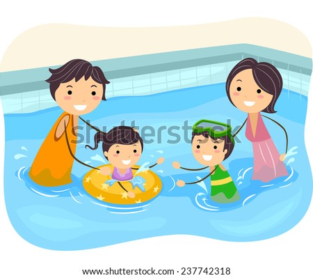Illustration of a Family Playing in the Swimming Pool - stock vector