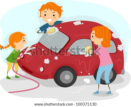 Illustration of a Family Washing Their Car