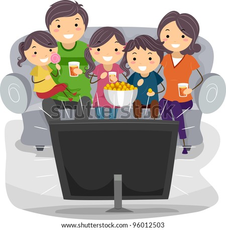 Clip Art Father Enjoying Television