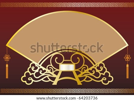 Illustration of a fan shape frame background design.