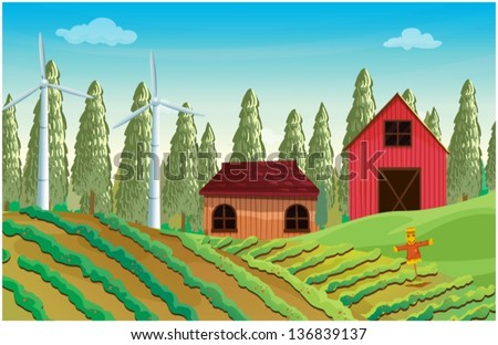 Illustration of a farm with windmills and two wooden houses