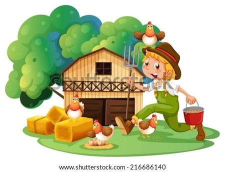 Illustration of a farmer and a barn - stock vector