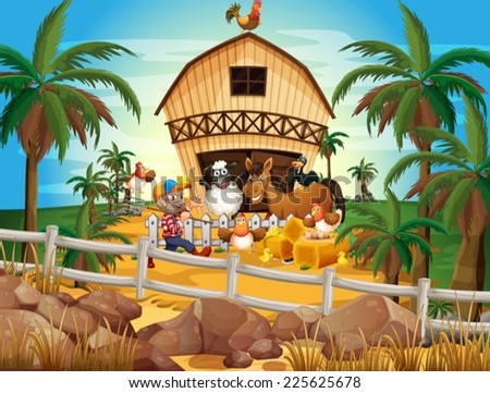 Illustration of a farmer and many animals - stock vector