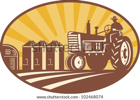 Illustration of a farmer driving a vintage farm tractor with barn and silos in background done in retro woodcut style. - stock vector