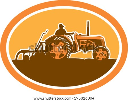 Illustration of a farmer driving riding vintage tractor plowing field sideview set inside an oval done in retro style. - stock vector