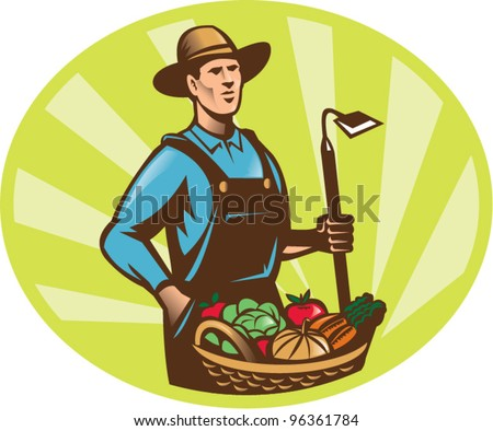 Illustration of a farmer holding a garden hoe wearing hat with basket full of vegetable fruit crop harvest done in retro woodcut style. - stock vector