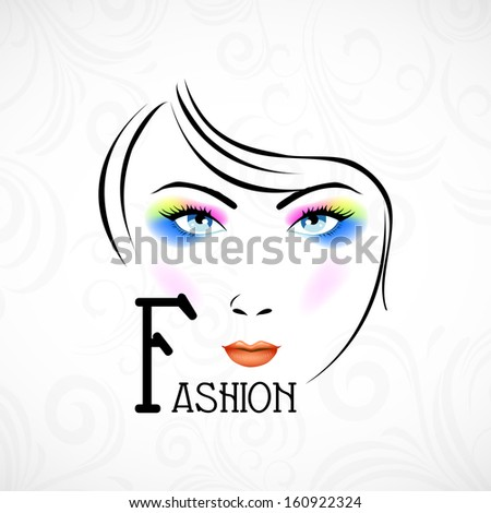 Illustration of a fashionable girl with bright makeup on floral decorated background.  - stock vector