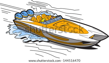 Illustration of a Fast Speedboat on the Water - stock vector