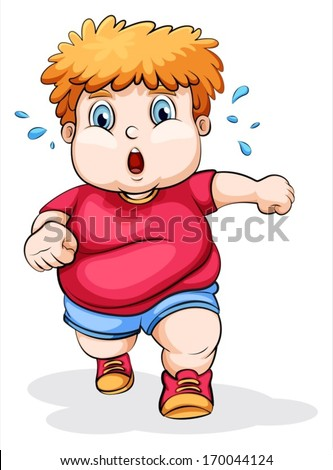 Illustration of a fat Caucasian kid running on a white background - stock vector