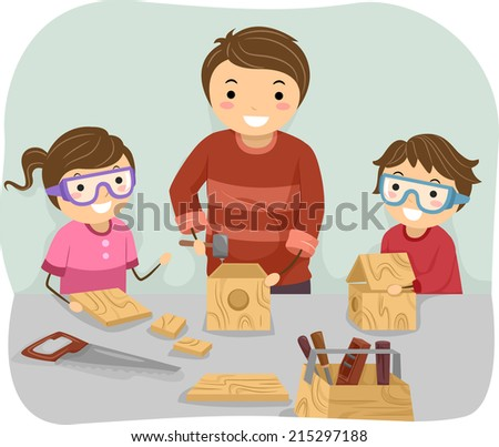 Illustration of a Father Teaching His Kids How to Do Woodwork - stock vector
