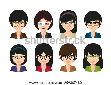 Illustration of a female asian avatar wearing glasses - stock vector