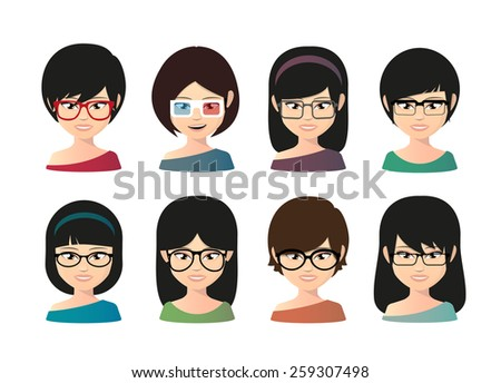 Illustration of a female asian avatar wearing glasses - stock vector