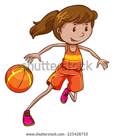 Illustration of a female basketball player on a white background  - stock vector