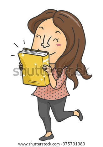 Illustration of a Female Book Lover Excited Over the Release of a New Book - stock vector