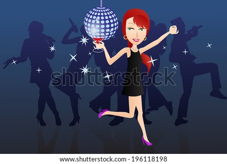 illustration of a female dancing on stage hold a glass of wine on music festival stage  - stock vector