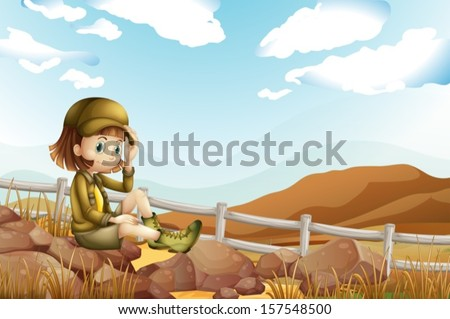 Illustration of a female explorer sitting above the rock near the fence - stock vector