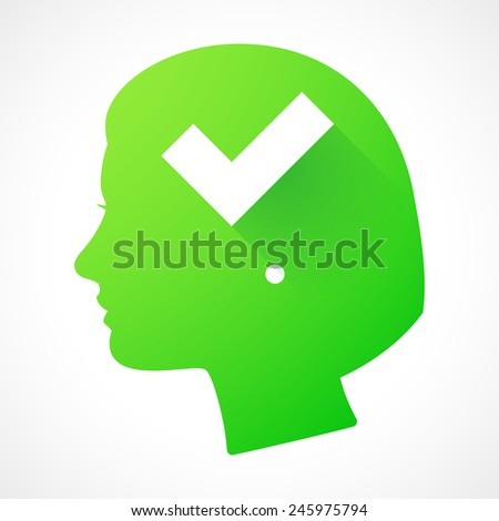 Illustration of a female head silhouette with a check mark