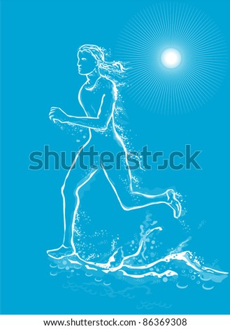 illustration of a female runner running on water and made to look like she is made out of water on blue background