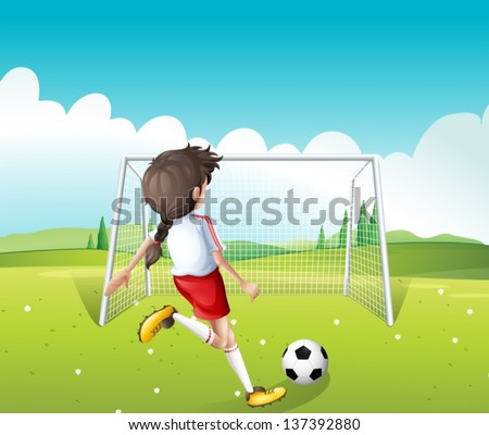 Illustration of a female soccer player in a white uniform - stock vector
