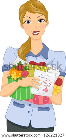 Illustration of a Female Teacher Holding Gifts from Her Students