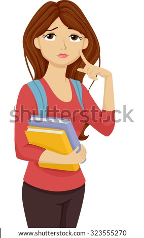 Illustration of a Female Teenage Student Thinking to Herself - stock vector
