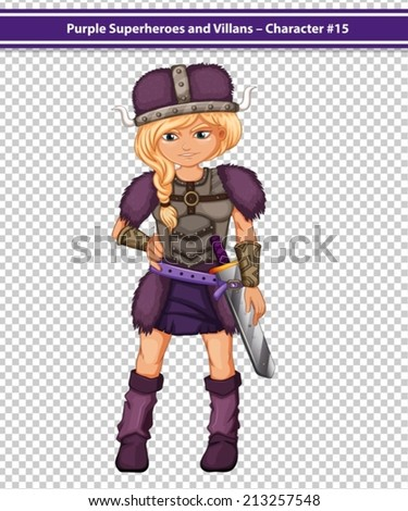 Illustration of a female viking in purple costume - stock vector