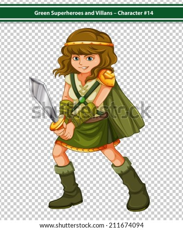 Illustration of a female viking warrior with sword in aciton stance - stock vector
