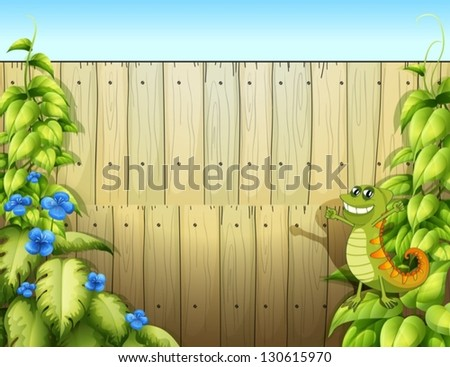 Illustration of a fence with a lizard - stock vector
