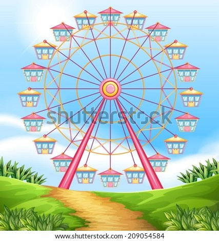 Illustration of a ferris wheel ride - stock vector