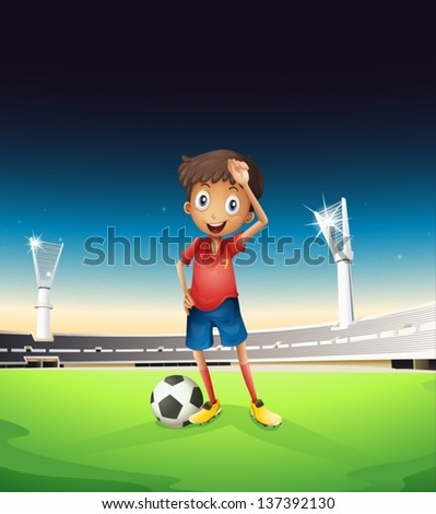 Illustration of a field with a soccer player in a red uniform - stock vector