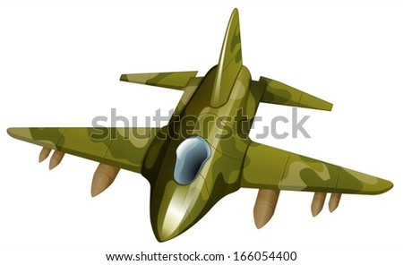 Illustration of a fighter jetplane on a white background - stock vector