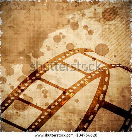 Illustration of a film stripe or film reel on grungy brown movie background. EPS 10 - stock vector