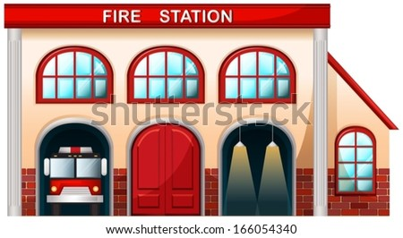 Illustration of a fire station building on a white background - stock vector