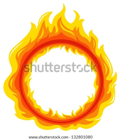 Illustration of a fireball on a white background - stock vector