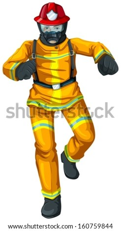 Illustration of a firefighter on a white background