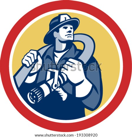 Illustration of a fireman fire fighter emergency worker holding fire hose over his shoulder viewed from front set inside circle done in retro style. - stock vector