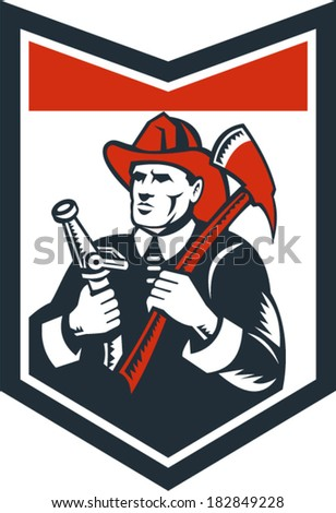 Illustration of a fireman fire fighter emergency worker looking up holding fire hose and fire axe inside shield done in retro woodcut style. - stock vector