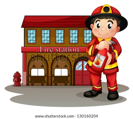 Illustration of a fireman in front of a fire station holding a fire extinguisher on a white background - stock vector