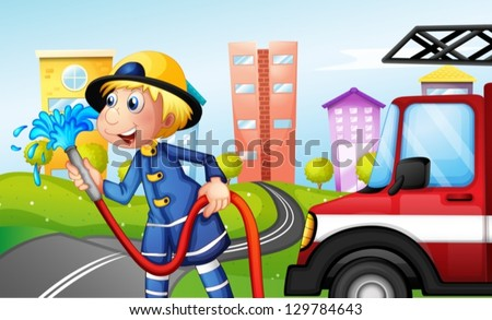 Illustration of a fireman with a hose at the street