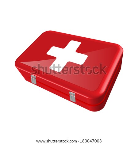 Illustration of a first aid kit isolated on a white background.