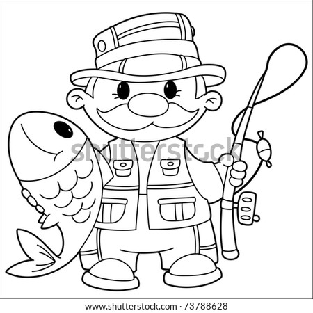 Illustration Of A Fisherman Outlined
