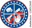 Illustration of a fist punching cctv surveillance security camera pistol gun and hand set inside circle with stars and stripes done in retro style. - stock photo