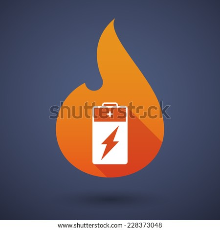 Illustration of a flame icon with a battery - stock vector