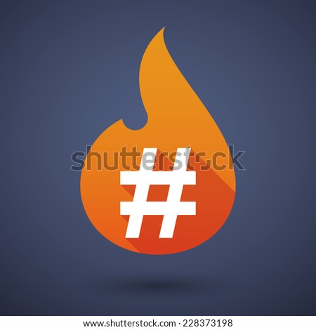 Illustration of a flame icon with a hash tag - stock vector